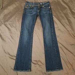 Miss Me Gold Angel Wings Rhinestones Jeans 30